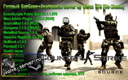GunGame+Deathmatch server by Ultras for css v68 [No-Steam] [TORRENT]