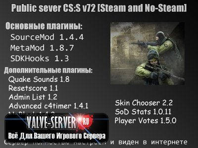 Готовый Public Server для CS:S v72 [Steam and No-Steam]